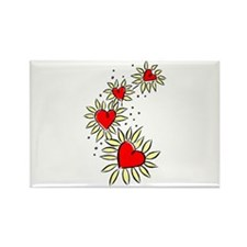 Heart Daisies Rectangle Magnet