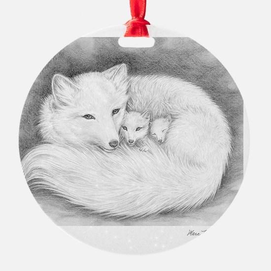 Arctic_fox_family_mini_poster Ornament