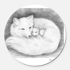 Arctic_fox_family_mini_poster Round Car Magnet