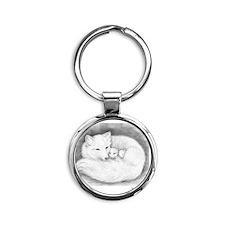 Arctic_fox_family_mini_poster Round Keychain