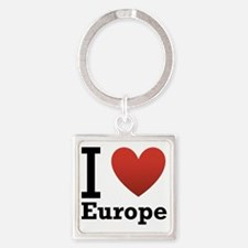 i-love-europe-light-tee Square Keychain
