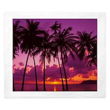 Purple Tropical Sunset 1 King Duvet