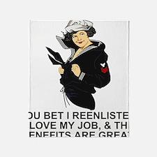 Navy-Humor-I-Reenlisted-Girl-PO1 Throw Blanket
