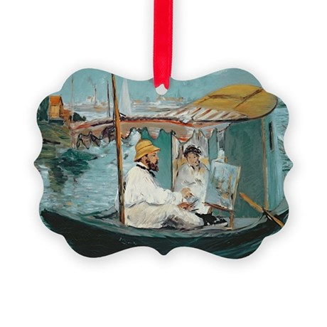 Monet in his Floating Studio, 187 Picture Ornament