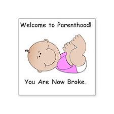 "BabyPinkShirtBlackFont Square Sticker 3"" x 3"""