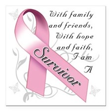 "Breast Cancer Survivor Square Car Magnet 3"" x 3"""
