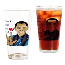 i_love_u_obama Drinking Glass