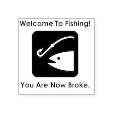 "FishingBroke Black Square Sticker 3"" x 3"""