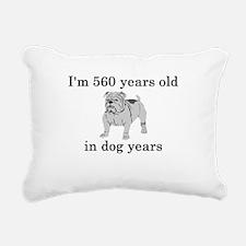 80 birthday dog years bulldog Rectangular Canvas P