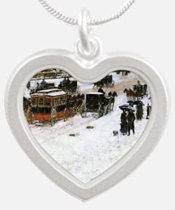 Hassam - Fifth Avenue in Win Silver Heart Necklace