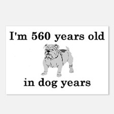 80 birthday dog years bulldog 2 Postcards (Package