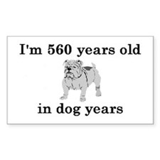80 birthday dog years bulldog 2 Decal