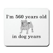 80 birthday dog years bulldog 2 Mousepad