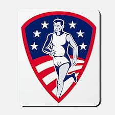 american marathon runner shield Mousepad