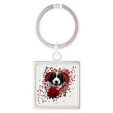 Valentine_Red_Rose_Springer_Spanie Square Keychain
