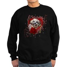 Valentine_Red_Rose_ShihPoo_Maggi Sweatshirt