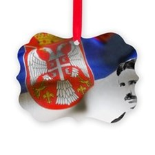Serbia Flag w Tesla Ornament