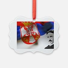 Serbia Flag w Tesla Ornament