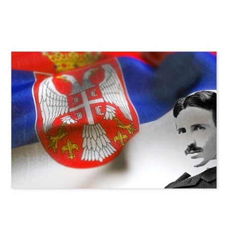 Serbia Flag w Tesla Postcards (Package of 8)