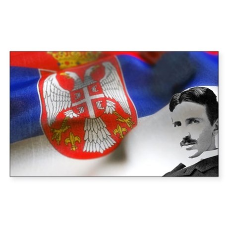 Serbia Flag w Tesla Sticker (Rectangle)