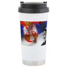 Serbia Flag w Tesla Travel Coffee Mug