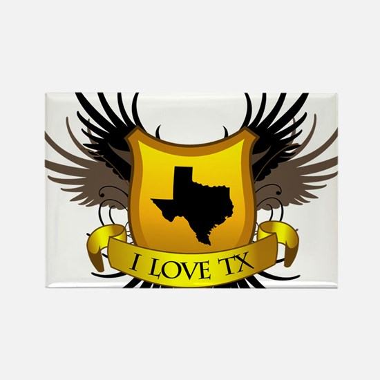 I-love-Texas Rectangle Magnet