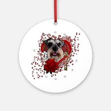 Valentine_Red_Rose_Schnauzer Round Ornament