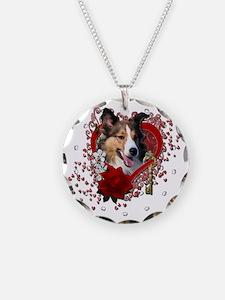 Valentine_Red_Rose_Sheltie Necklace