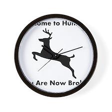 DeerHuntingBrokeBlackFont Wall Clock