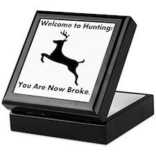 DeerHuntingBrokeBlackFont Keepsake Box