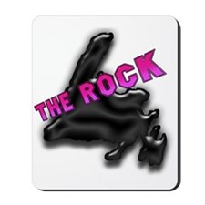 The Rock Chrome Island with Pink Letteri Mousepad