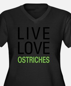liveostrich Women's Plus Size Dark V-Neck T-Shirt