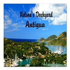 "Nelsons Dockyard Antigua Square Car Magnet 3"" x 3"""