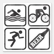 "swimbikerunBeer-2 Square Car Magnet 3"" x 3"""