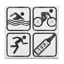 swimbikerunBeer-2 Tile Coaster
