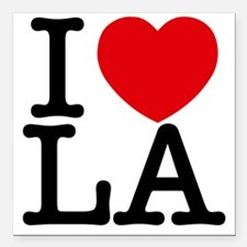 "I Love LA Square Car Magnet 3"" x 3"""