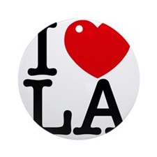I Love LA Round Ornament