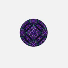 kaleido art stained glass blue Mini Button