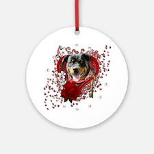 Valentine_Red_Rose_Rottweiler_Samba Round Ornament