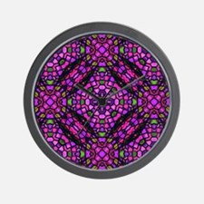 kaleido art stained glass pink Wall Clock