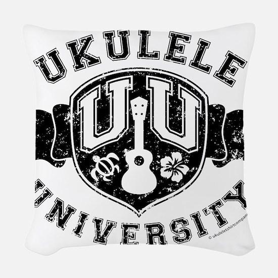 Ukulele University Woven Throw Pillow
