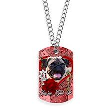 Valentine_Red_Rose_Pug Dog Tags