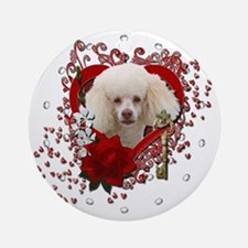 Valentine_Red_Rose_Poodle_White Round Ornament