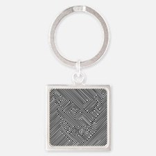skull optical illusion Square Keychain