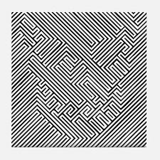skull optical illusion Tile Coaster