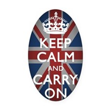 Keep Calm And Carry On with Union  Oval Car Magnet