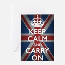 Keep Calm And Carry On with Union Ja Greeting Card