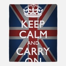 Keep Calm And Carry On with Union Ja Throw Blanket