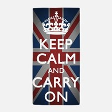 Keep Calm And Carry On with Union Jack Beach Towel