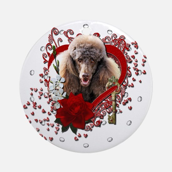 Valentine_Red_Rose_Poodle_Chocolate Round Ornament